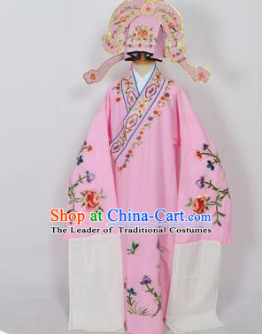 Traditional Chinese Professional Peking Opera Young Men Niche Costume Pink Embroidery Robe and Hat, China Beijing Opera Nobility Childe Scholar Embroidered Clothing