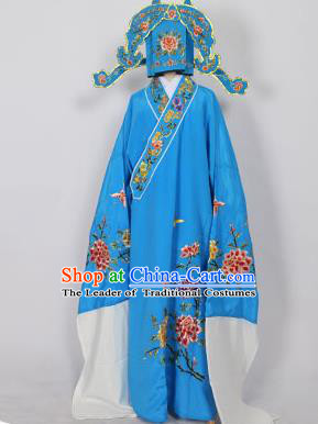 Traditional Chinese Professional Peking Opera Young Men Niche Costume Blue Embroidery Robe and Hat, China Beijing Opera Nobility Childe Scholar Embroidered Clothing