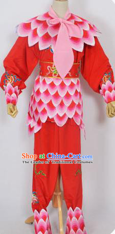 Traditional Chinese Professional Peking Opera Nezha Red Costume, China Beijing Opera Martial Arts Embroidered Clothing