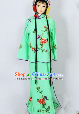 Traditional Chinese Professional Peking Opera Jordan-Sitting Costume Green Embroidery Dress, Children China Beijing Opera Diva Hua Tan Embroidered Maidservants Clothing
