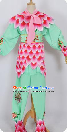 Traditional Chinese Professional Peking Opera Nezha Green Costume, China Beijing Opera Martial Arts Embroidered Clothing