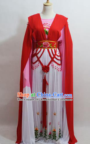 Traditional Chinese Professional Peking Opera Young Lady Princess Costume Water Sleeve Red Embroidery Dress, China Beijing Opera Diva Hua Tan Embroidered Clothing