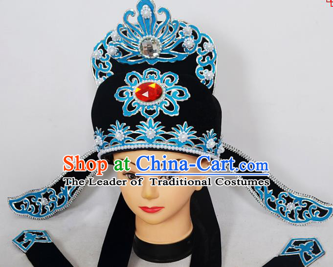 Traditional Handmade Chinese Classical Peking Opera Niche Hair Accessories Hat, China Beijing Opera Lang Scholar Headwear