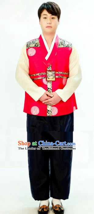 Traditional South Korean Handmade Hanbok Embroidery Bridegroom Wedding Red Clothing, Top Grade Korea Hanbok Costume Complete Set for Men