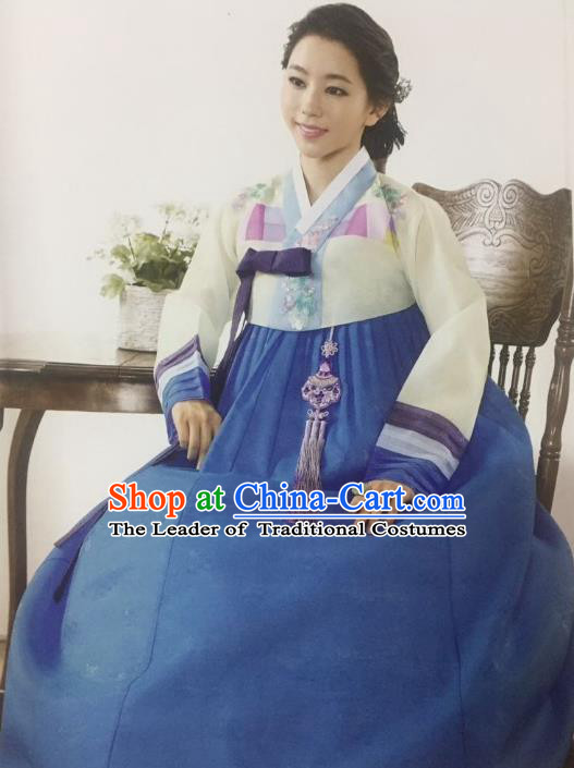 Traditional South Korean Handmade Bride Hanbok Customization Clothing Embroidery Blue Dress, Top Grade Korea Wedding Royal Hanbok Costume for Women
