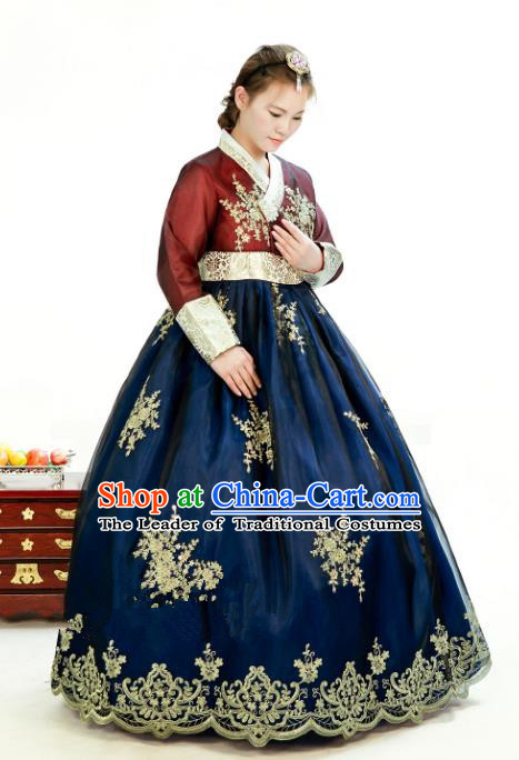 Traditional South Korean Handmade Hanbok Customization Mother Clothing Embroidery Blouse Peacock Blue Dress, Top Grade Korea Wedding Royal Hanbok Costume for Women