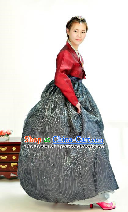 Traditional South Korean Handmade Hanbok Customization Mother Clothing Embroidery Blouse Grey Dress, Top Grade Korea Wedding Royal Hanbok Costume for Women