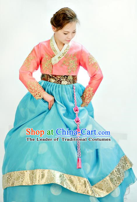 Traditional South Korean Handmade Mother Hanbok Customization Clothing Embroidery Blue Dress, Top Grade Korea Royal Hanbok Costume for Women