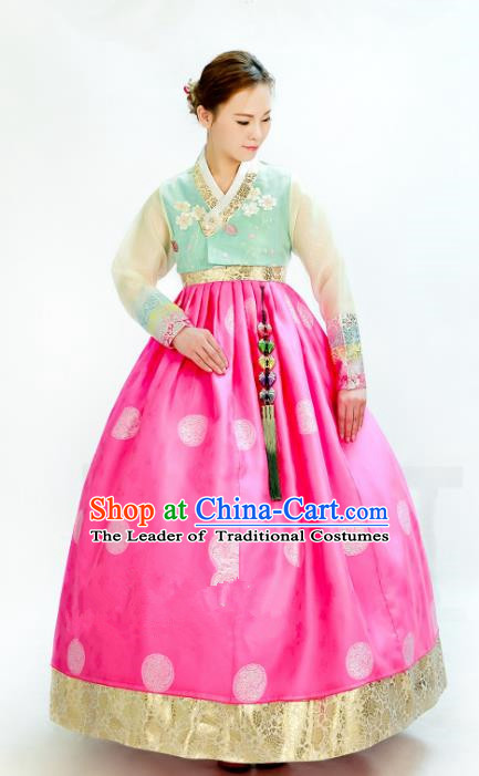 Traditional South Korean Handmade Hanbok Embroidery Wedding Pink Dress, Top Grade Korea Hanbok Bride Royal Costume Complete Set for Women