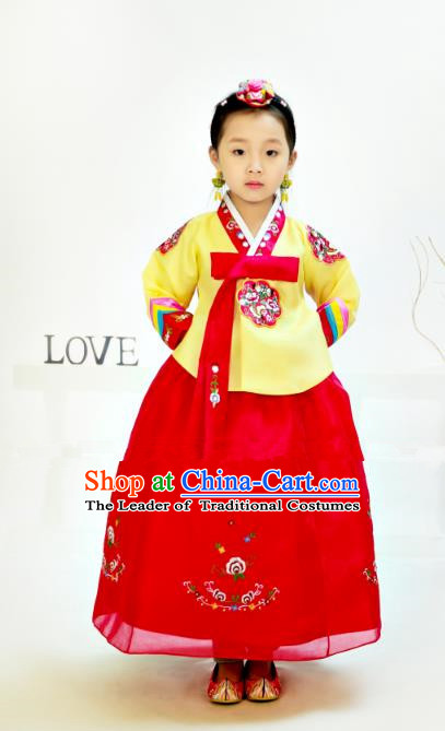 Traditional South Korean Handmade Hanbok Children Birthday Yellow Blouse Dress, Top Grade Korea Hanbok Costume Complete Set for Girls