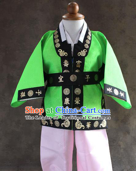 Traditional South Korean Handmade Hanbok Children Baby Birthday Customization Green Uniform and Embroidery Belt, Top Grade Korea Hanbok Costume Complete Set for Boys