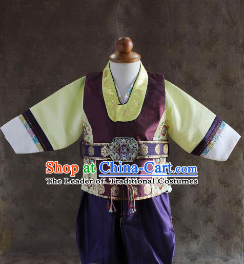 Traditional South Korean Handmade Hanbok Children Baby Birthday Customization Embroidery Purple Clothing, Top Grade Korea Hanbok Costume Complete Set for Boys
