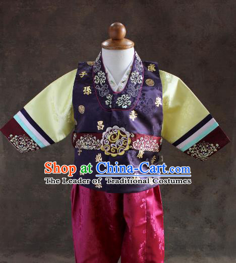 Traditional South Korean Handmade Hanbok Children Little Boys Birthday Customization Purple Shirt and Pants, Top Grade Korea Hanbok Costume Complete Set for Kids