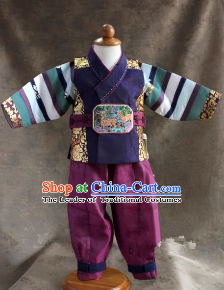 Traditional South Korean Handmade Hanbok Children Little Boys Birthday Customization Embroidery Belt Shirt and Pants, Top Grade Korea Hanbok Costume Complete Set for Kids