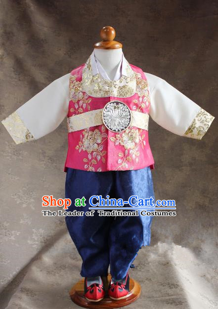 Traditional South Korean Handmade Hanbok Children Little Boys Birthday Customization Embroidery Pink Vest Shirt and Pants, Top Grade Korea Hanbok Costume Complete Set for Kids