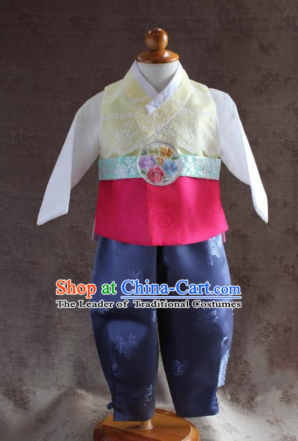 Traditional South Korean Handmade Hanbok Children Little Boys Birthday Customization Embroidery Belt Clothing Complete Set, Top Grade Korea Hanbok Costume for Kids