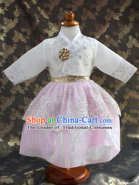 Traditional South Korean Handmade Hanbok Children Little Princess Birthday Customization Embroidery Pink Dress Complete Set, Top Grade Korea Royal Hanbok Costume for Kids