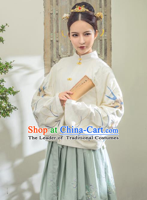 Traditional Ancient Chinese Ming Dynasty Palace Lady Costume Embroidered Blouse, Elegant Hanfu Clothing Chinese Imperial Princess Sleeve Placket Clothing for Women