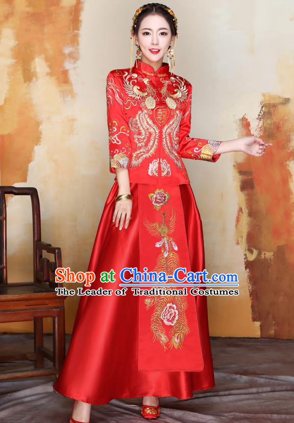 Traditional Ancient Chinese Wedding Costume Handmade XiuHe Suits Embroidery Phoenix Peony Bride Toast Cheongsam Dress, Chinese Style Hanfu Wedding Clothing for Women