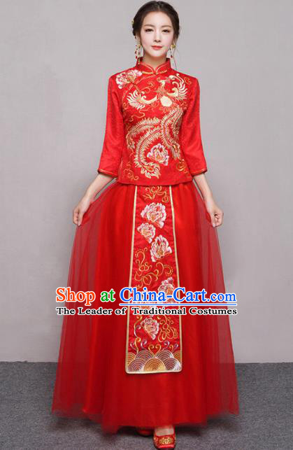 Traditional Ancient Chinese Wedding Costume Handmade Embroidery Peony Veil Xiuhe Suits, Chinese Style Wedding Dress Red Embroidery Dragon and Phoenix Flown Bride Toast Cheongsam for Women