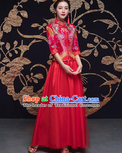 Traditional Ancient Chinese Wedding Costume Handmade Embroidery Satin Bottom Drawer Xiuhe Suits, Chinese Style Wedding Dress Red Dragon and Phoenix Flown Bride Toast Cheongsam for Women