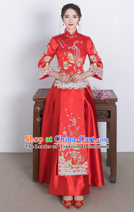 Traditional Ancient Chinese Wedding Costume Handmade Delicacy Embroidery Phoenix XiuHe Suits, Chinese Style Wedding Dress Flown Bride Toast Cheongsam for Women