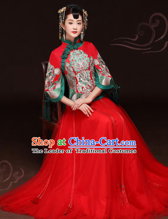 Traditional Ancient Chinese Wedding Costume Handmade Delicacy Embroidery Phoenix XiuHe Suits Red Veil Dress, Chinese Style Hanfu Wedding Bride Toast Cheongsam for Women