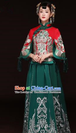 Traditional Ancient Chinese Wedding Costume Handmade Delicacy Embroidery Phoenix XiuHe Suits Green Dress, Chinese Style Hanfu Wedding Bride Toast Cheongsam for Women