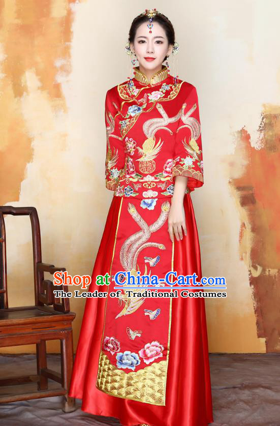 Traditional Ancient Chinese Wedding Costume Handmade Delicacy Embroidery Phoenix Peony XiuHe Suits, Chinese Style Hanfu Wedding Bride Toast Cheongsam for Women