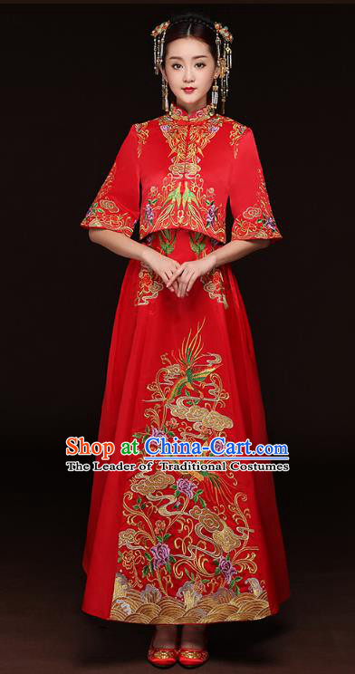 Traditional Ancient Chinese Wedding Costume Handmade Delicacy Embroidery Longfeng Xiuhe Suits, Chinese Style Wedding Dress Flown Bride Toast Cheongsam for Women
