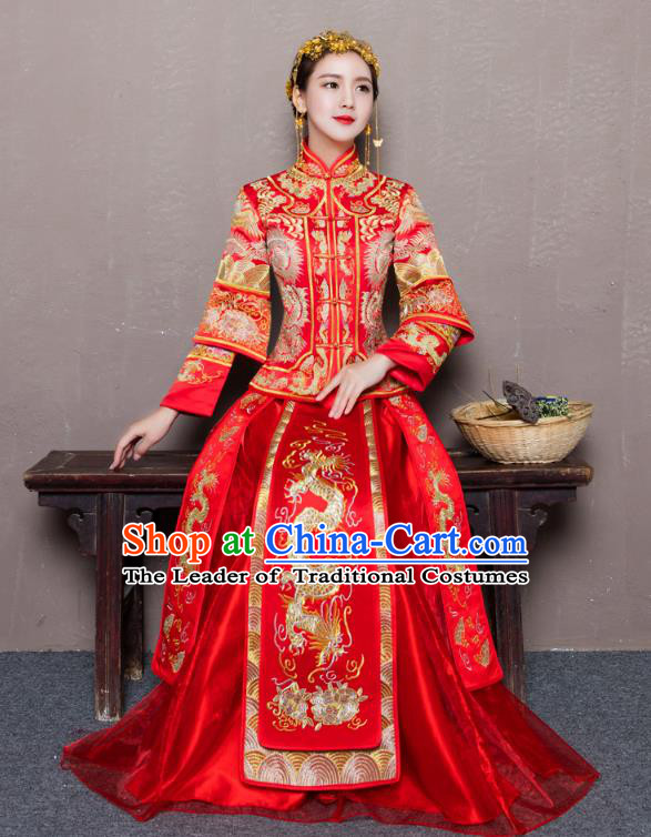 Traditional Ancient Chinese Wedding Costume Handmade Delicacy Embroidery Dragon and Phoenix XiuHe Suits Longfeng Flown, Chinese Style Hanfu Wedding Toast Cheongsam for Women