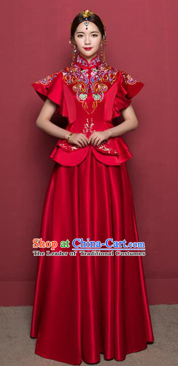 Traditional Ancient Chinese Wedding Costume Handmade Delicacy Embroidery Ruffle Sleeve XiuHe Suits, Chinese Style Hanfu Wedding Bride Toast Cheongsam for Women
