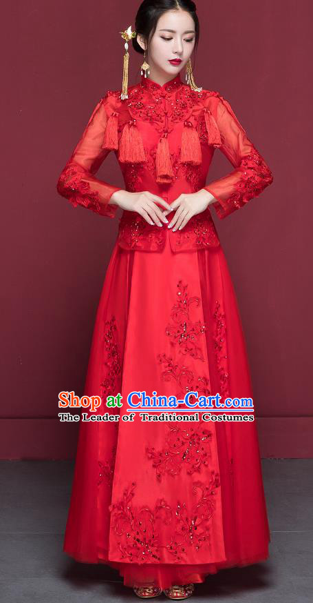 Traditional Ancient Chinese Wedding Costume Handmade Delicacy Embroidery XiuHe Suits, Chinese Style Hanfu Wedding Bride Toast Cheongsam for Women
