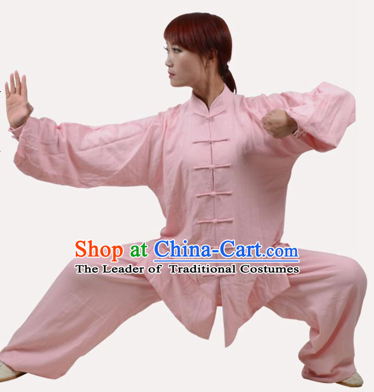 Top Grade Linen Martial Arts Costume Kung Fu Training Clothing, Tai Ji Embroidery Pink Uniform Gongfu Wushu Costume  for Women for Men