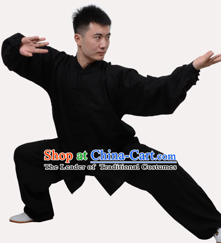 Top Grade Linen Martial Arts Costume Kung Fu Training Clothing, Tai Ji Embroidery Black Uniform Gongfu Wushu Costume  for Women for Men