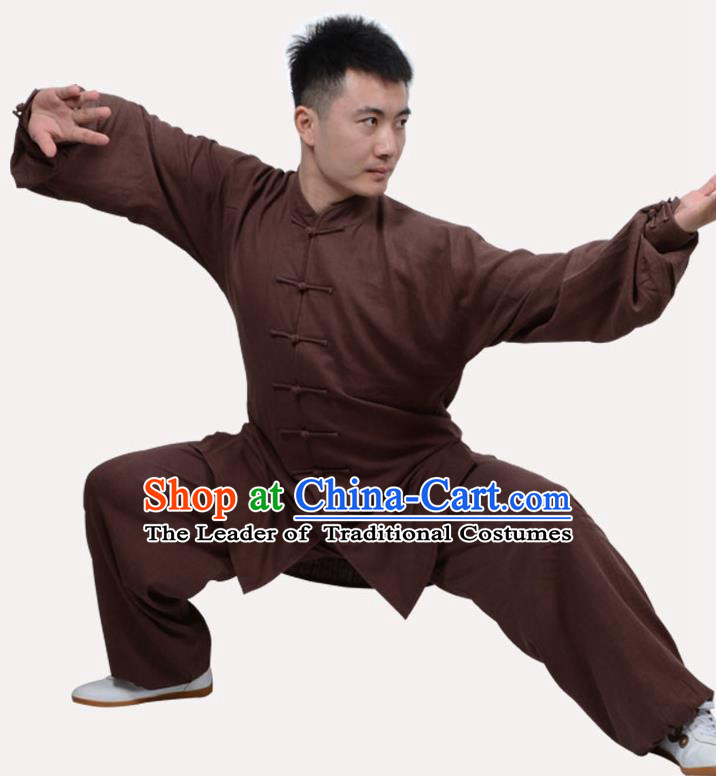 Top Grade Linen Martial Arts Costume Kung Fu Training Clothing, Tai Ji Embroidery Deep Brown Uniform Gongfu Wushu Costume for Women for Men