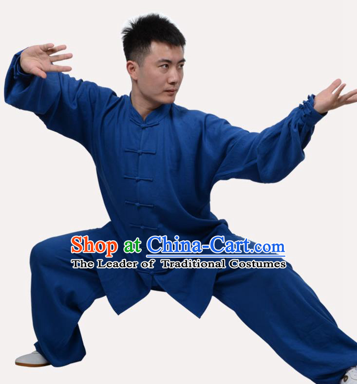 Top Grade Linen Martial Arts Costume Kung Fu Training Clothing, Tai Ji Embroidery Deep Blue Uniform Gongfu Wushu Costume for Women for Men
