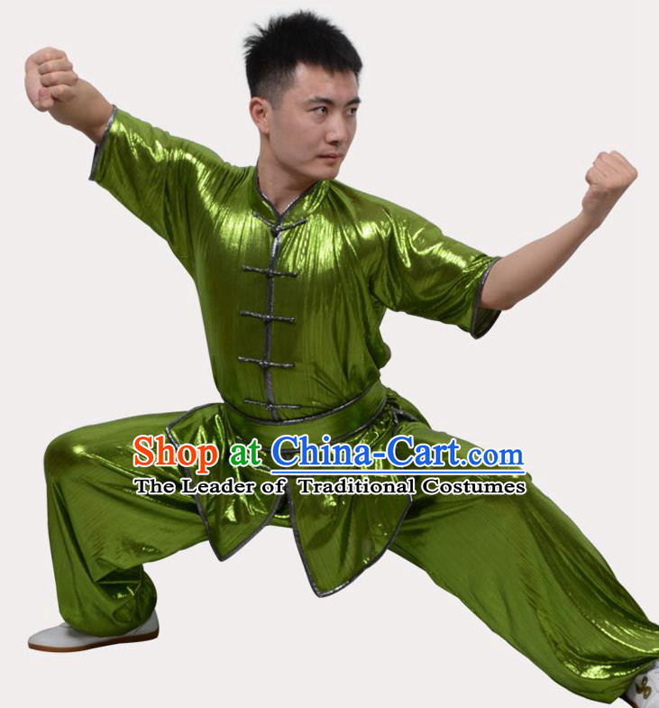 Top Grade Linen Martial Arts Costume Kung Fu Training Plated Buttons Clothing, Tai Ji Southern Fist Green Uniform Gongfu Wushu Costume for Women for Men