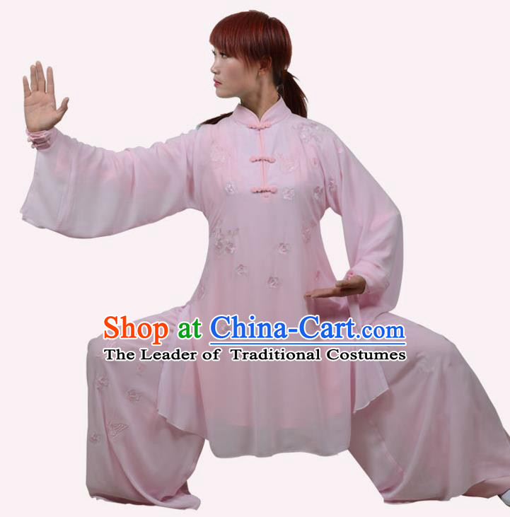 Top Grade Linen Martial Arts Costume Kung Fu Training Embroidery Plated Buttons Clothing, Tai Ji Pink Uniform Gongfu Wushu Costume for Women for Men