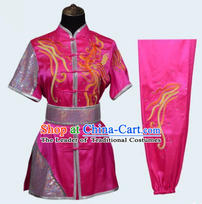 Top Grade Linen Martial Arts Costume Kung Fu Training Long Fist Clothing, Tai Ji Rosy Embroidery Uniform Gongfu Wushu Costume for Women for Men
