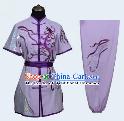 Top Grade Linen Martial Arts Costume Kung Fu Training Long Fist Clothing, Tai Ji Lilac Embroidery Uniform Gongfu Wushu Costume for Women for Men