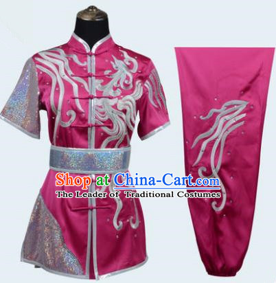 Top Grade Linen Martial Arts Costume Kung Fu Training Long Fist Clothing, Tai Ji Fuchsine Embroidery Uniform Gongfu Wushu Costume for Women for Men