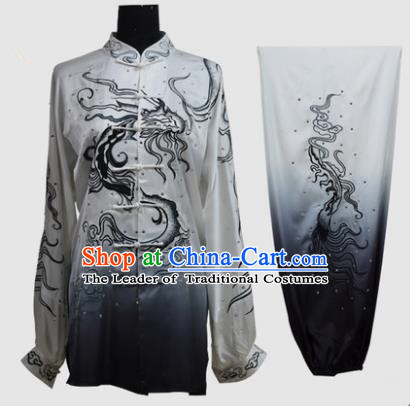 Top Grade Martial Arts Costume Kung Fu Training Gradient Black Clothing, Tai Ji Embroidery Dragon Long Fist Uniform Gongfu Wushu Costume for Women for Men