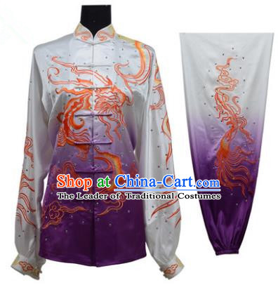 Top Grade Martial Arts Costume Kung Fu Training Gradient Purple Clothing, Tai Ji Embroidery Dragon Long Fist Uniform Gongfu Wushu Costume for Women for Men