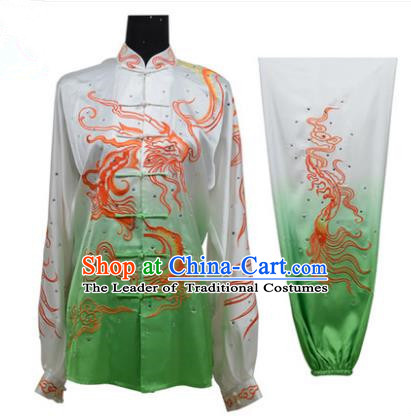 Top Grade Martial Arts Costume Kung Fu Training Gradient Green Clothing, Tai Ji Embroidery Dragon Long Fist Uniform Gongfu Wushu Costume for Women for Men