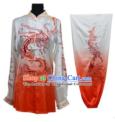 Top Grade Martial Arts Costume Kung Fu Training Gradient Red Clothing, Tai Ji Embroidery Dragon Long Fist Uniform Gongfu Wushu Costume for Women for Men