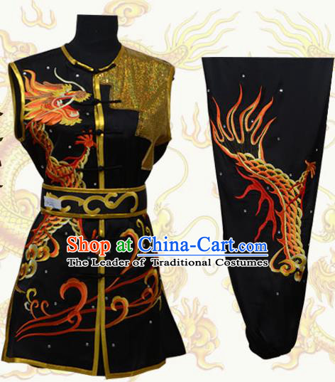 Top Grade Martial Arts Costume Kung Fu Training Black Clothing, Tai Ji Embroidery Long Fist Uniform Gongfu Wushu Costume for Women for Men