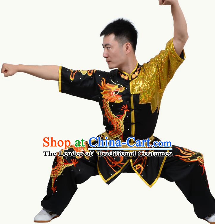 Top Grade Martial Arts Costume Kung Fu Training Short Sleeve Black Clothing, Tai Ji Embroidery Long Fist Uniform Gongfu Wushu Costume for Women for Men