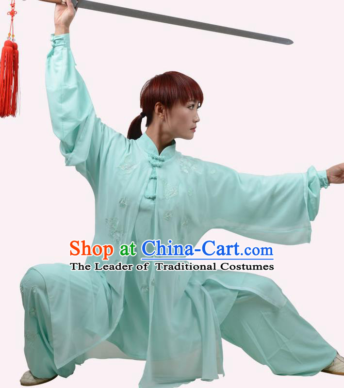 Top Grade Linen Martial Arts Costume Kung Fu Training Embroidery Plated Buttons Clothing, Tai Ji Green Uniform Gongfu Wushu Costume for Women for Men