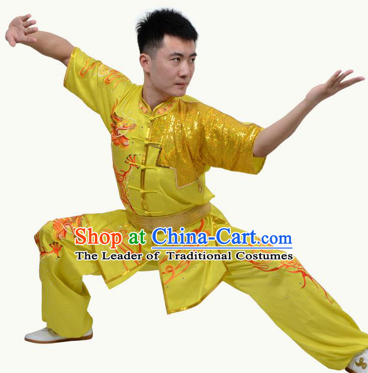 Top Grade Martial Arts Costume Kung Fu Training Short Sleeve Yellow Clothing, Tai Ji Embroidery Long Fist Uniform Gongfu Wushu Costume for Women for Men